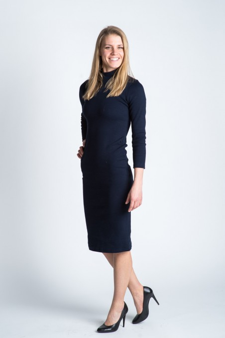 Collar Dress Navy Blue