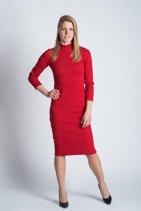 Collar Dress Red