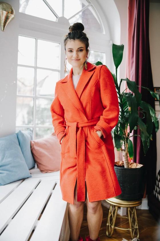 Płaszcz Wełniany Pomarańczowy