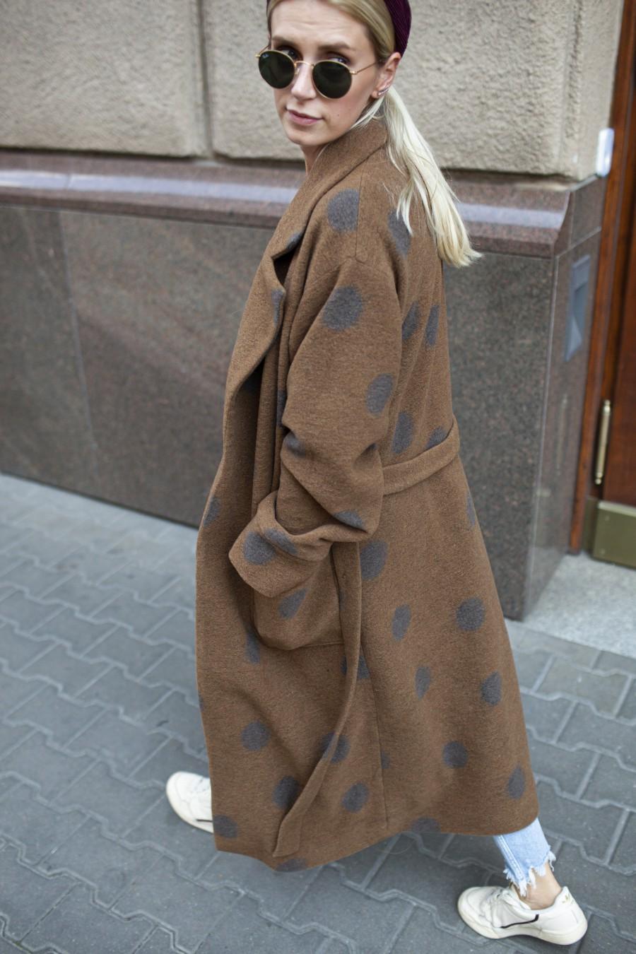 Płaszcz Długi Kropki