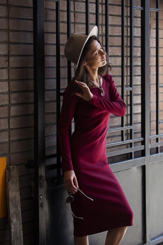 Sukienka Tuba Jesień Bordowa