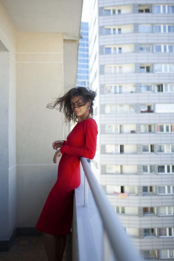 Sukienka Tuba Jesień Czerwona