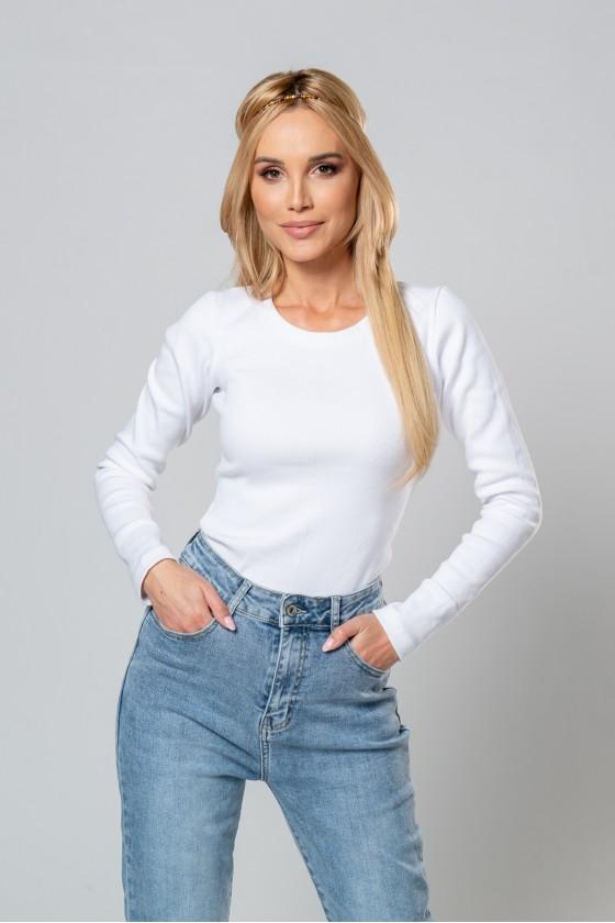 Bluzka z długim rękawem biała