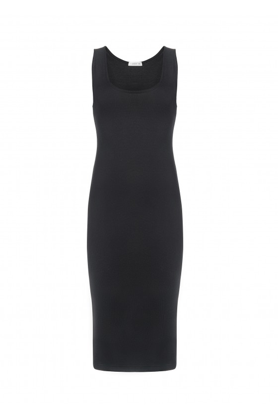 Sukienka czarna z rozcięciem