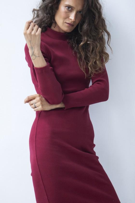 Sukienka prążek bordowa