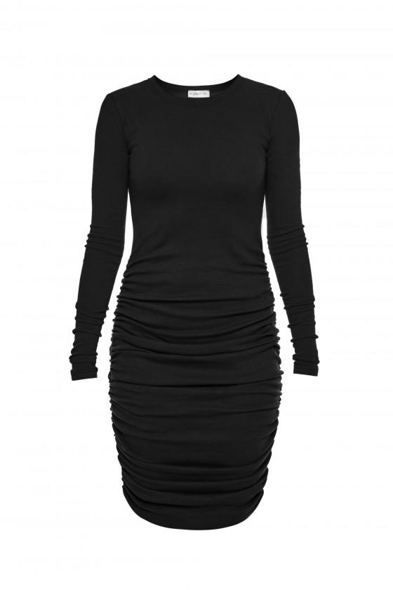 Sukienka z marszczeniem czarna